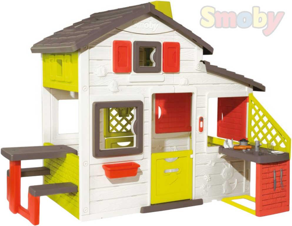 SMOBY Domeček dětský s kuchyní a nádobím Friends House zahradní plast