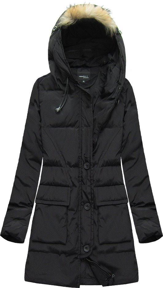 Černá prošívaná bunda s přírodní péřovou výplní (X1296X) - Černá/S (36)