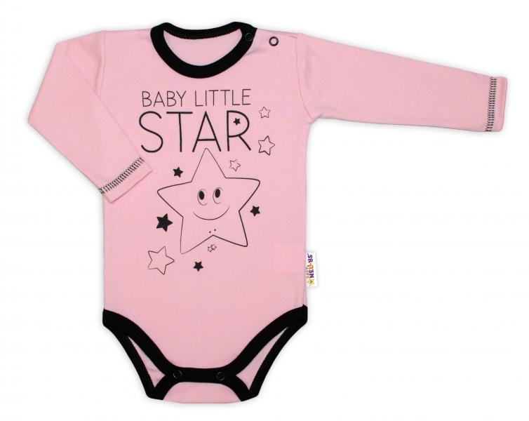 Baby Nellys Body dlouhý rukáv, růžové, Baby Little