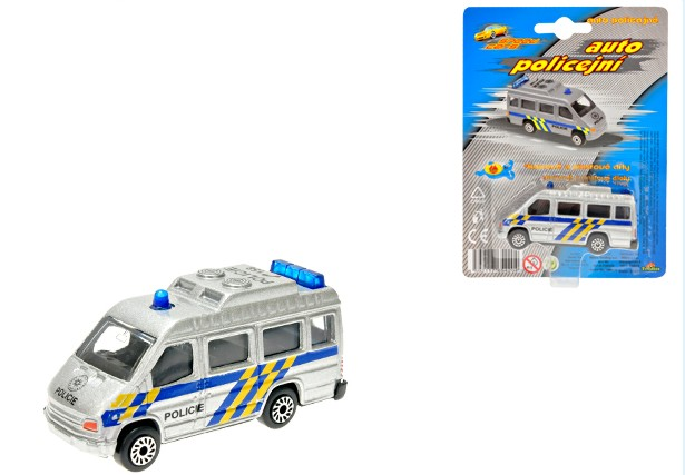 Auto kovové Policie dodávka na kartě 7 cm