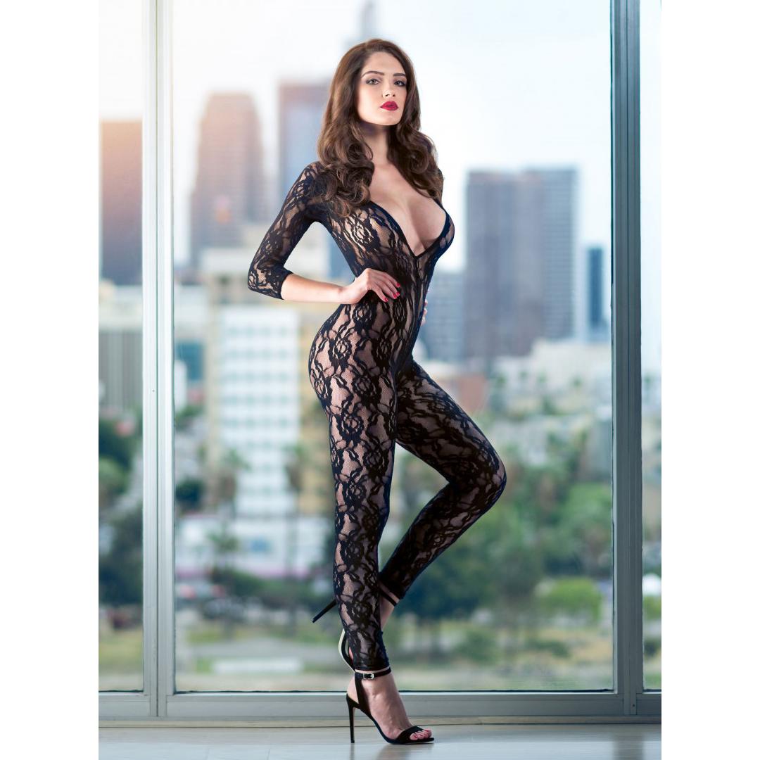 Černé krajkové body Scandal Lace Body Suit