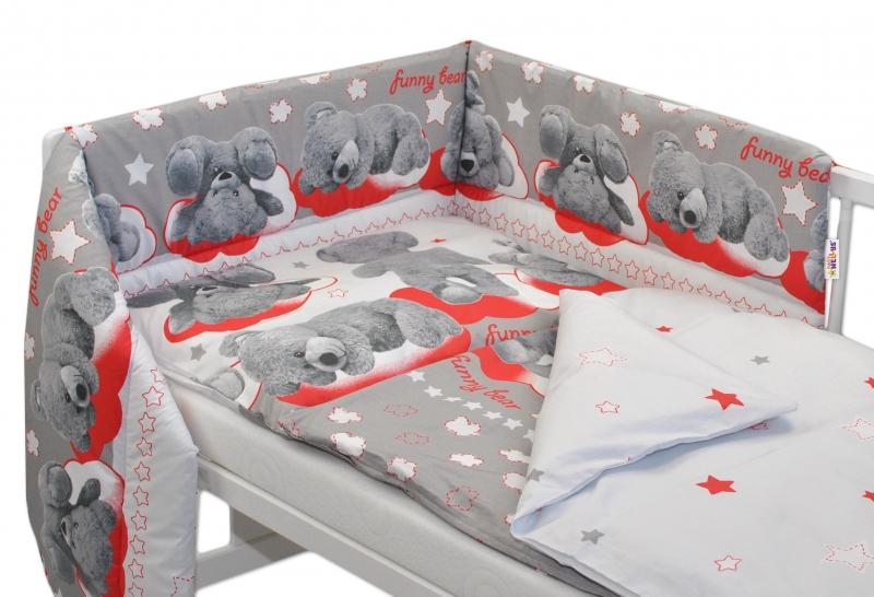 Mantinel s povlečením Medvídek hvězdička - šedý s červenou - 120x90