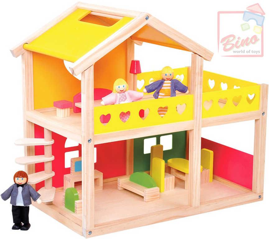 BINO DŘEVO Domeček pro panenky 43x25x41cm set se 3 figurkami a nábytkem