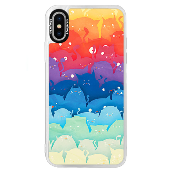 Neonové pouzdro Blue iSaprio - Cats World - iPhone X