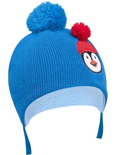 Zimní čepička YO ! na zavazování Pingwin - modrá - 36/38 čepičky obvod