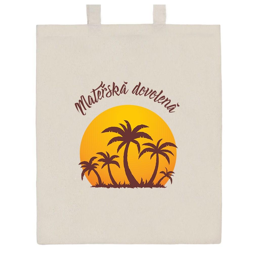 Bavlněná nákupní taška s potiskem New Baby Mateřská dovolená - přírodní