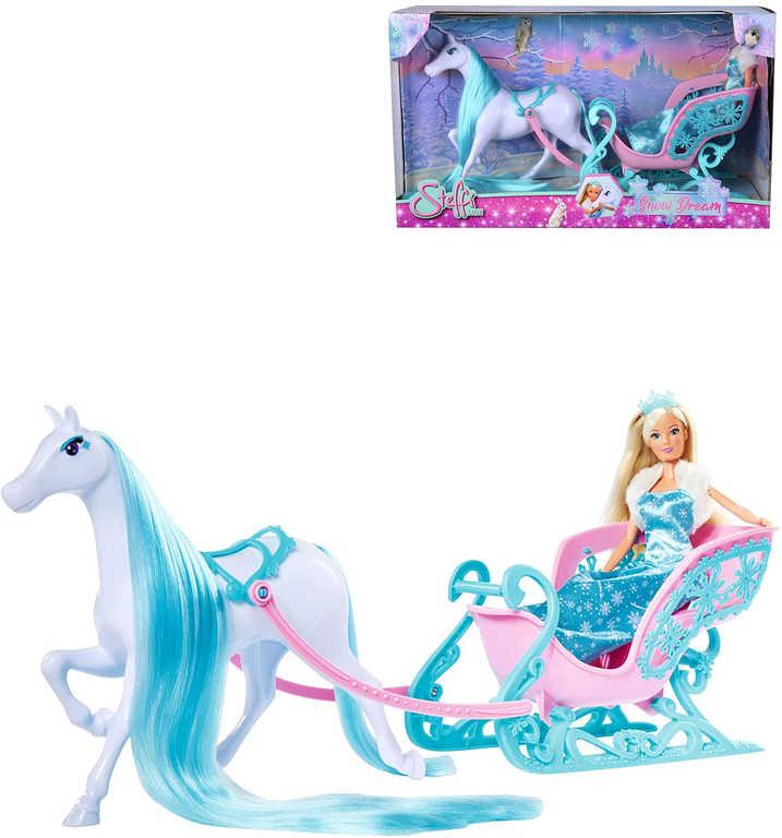 SIMBA Panenka Steffi 29cm zimní set s koněm a saněmi ledové království
