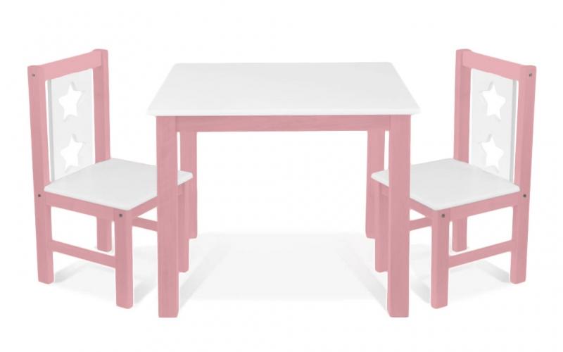 BABY NELLYS Dětský nábytek - 3 ks, stůl s židličkami - růžová, bílá, C/01
