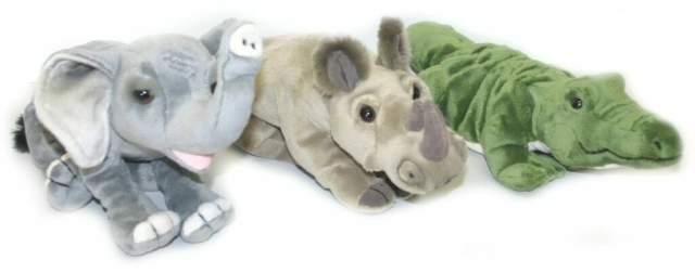 PLYŠ Krokodýl,Nosorožec,Slon 27 cm * PLYŠOVÉ HRAČKY *