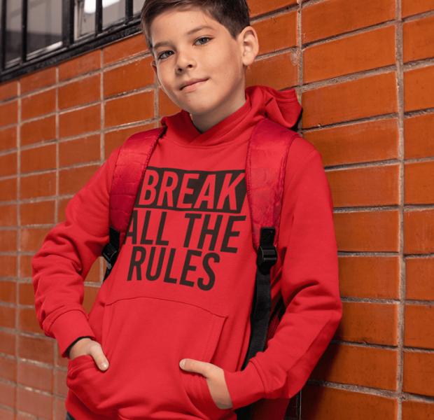 KIDSBEE Stylová dětská klučičí mikina s kapucí Break all the rules