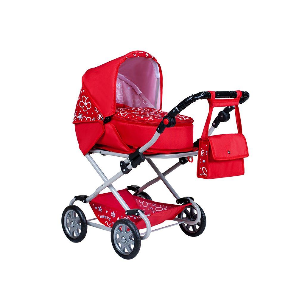 Dětský kočárek pro panenky 2v1 New Baby Monika červený - červená