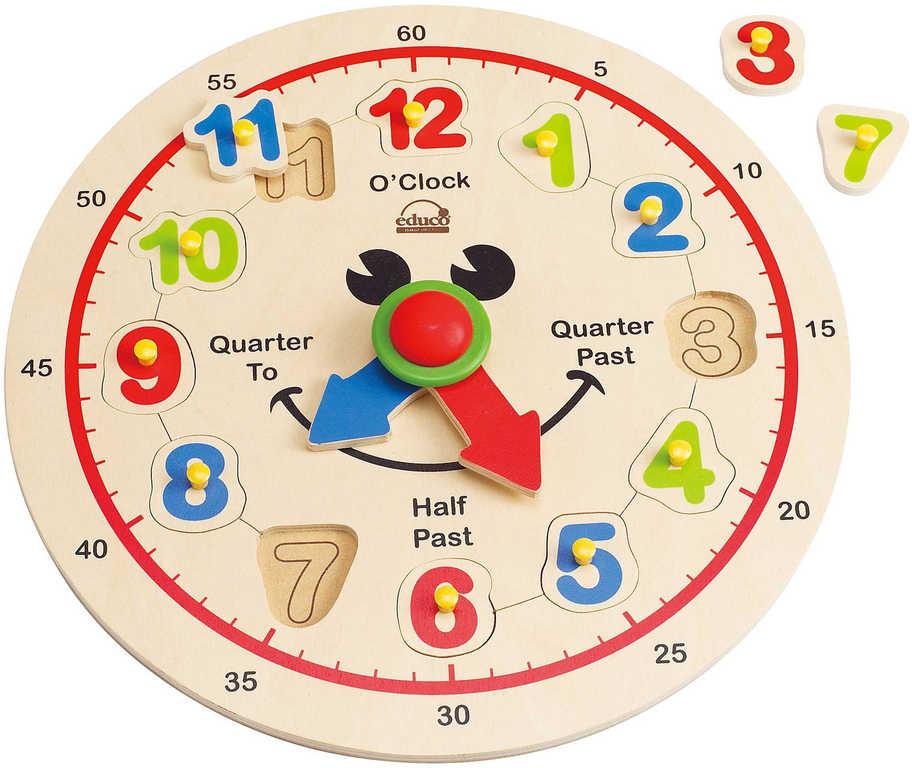 HAPE DŘEVO Hodiny veselé vkládací puzzle naučné 12 dílků na desce