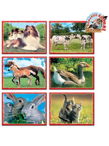 Skládací obrázkové kostky 12 ks - domácí zvířátka - zelená