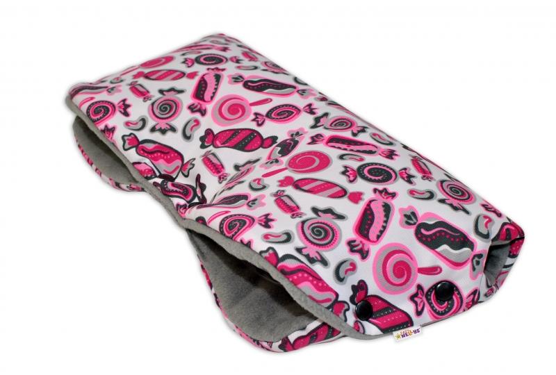 Rukávník ke kočárku Baby Nellys ® flees - sladkosti růžové
