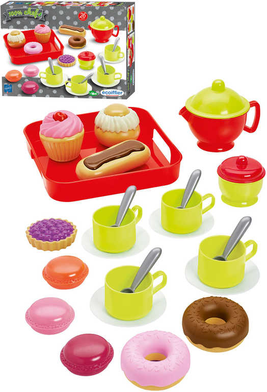 ECOIFFIER Baby servis čajový 26ks set dětské nádobí s tácem a cukrovinkami