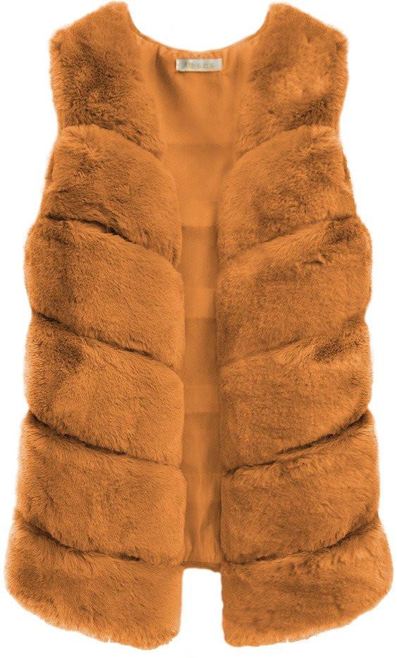Hnědá vesta z umělé kožešiny (456ART) - Hnědá/ONE SIZE