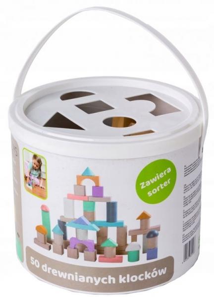 Dřevěné kostky v kyblíku ECO TOYS 50 ks - pastelové barvy