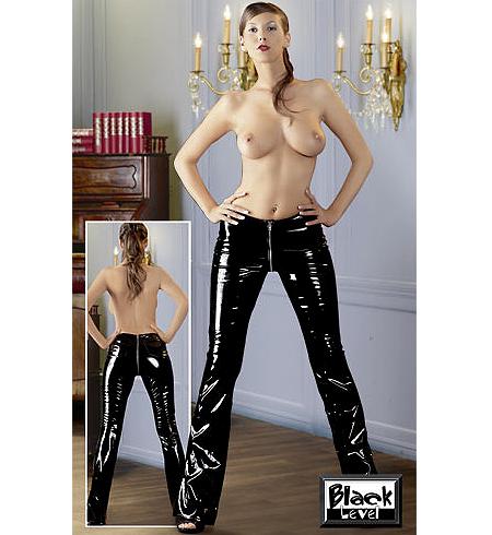 Černé lakované kalhoty se zipem v přední i zadní části (S, M, XL)
