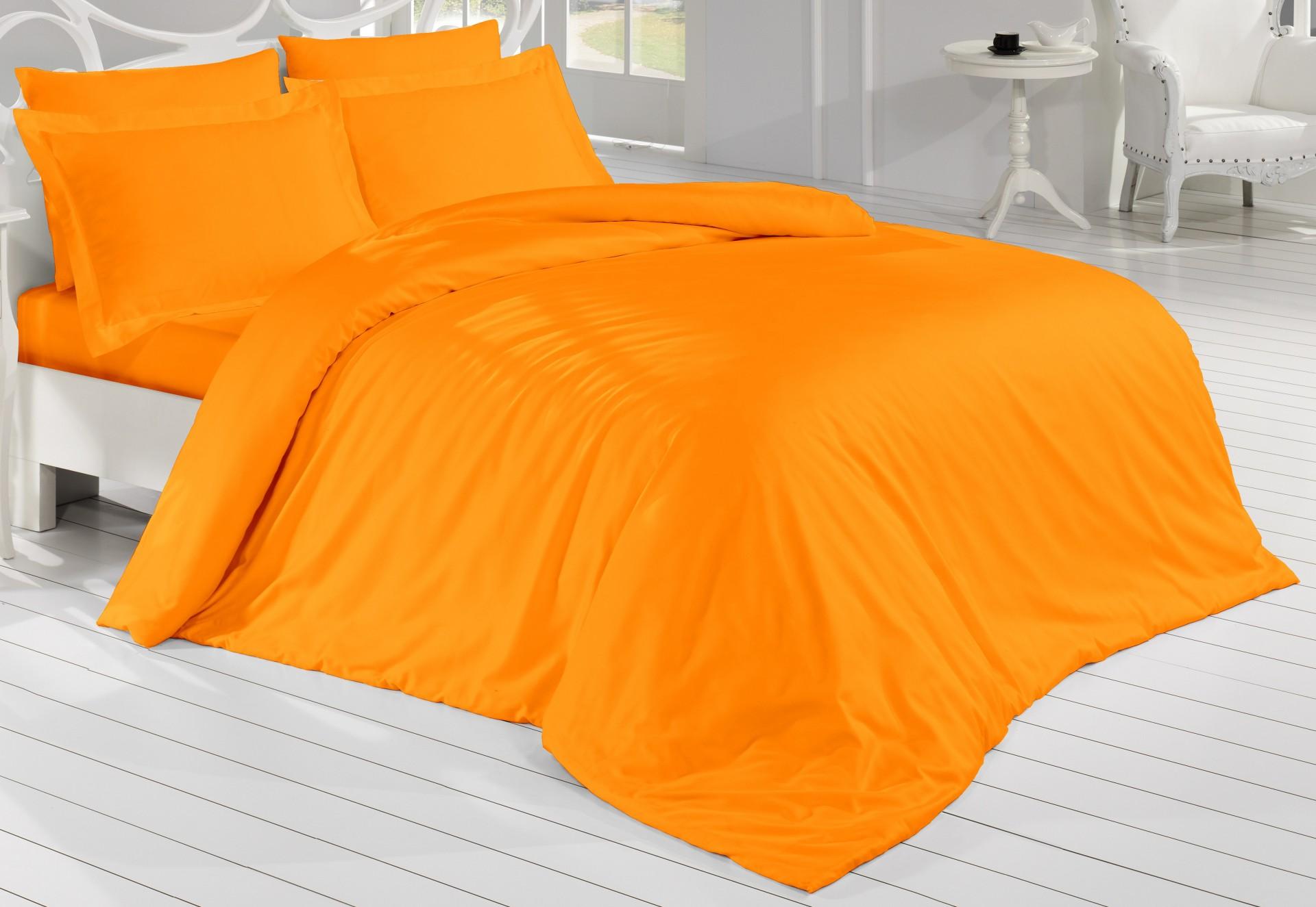 Francouzské povlečení Satén 220x200, 70x90cm Oranžová, Výběr zapínání: zipový uzávěr
