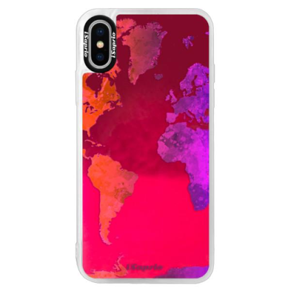 Neonové pouzdro Pink iSaprio - Warm Map - iPhone X