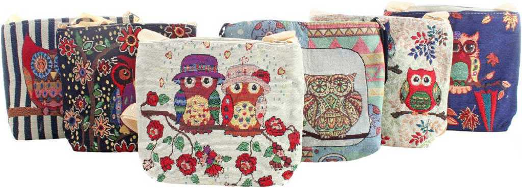 Taška dětská 23x18x6cm kabelka přes rameno sovičky 6 druhů