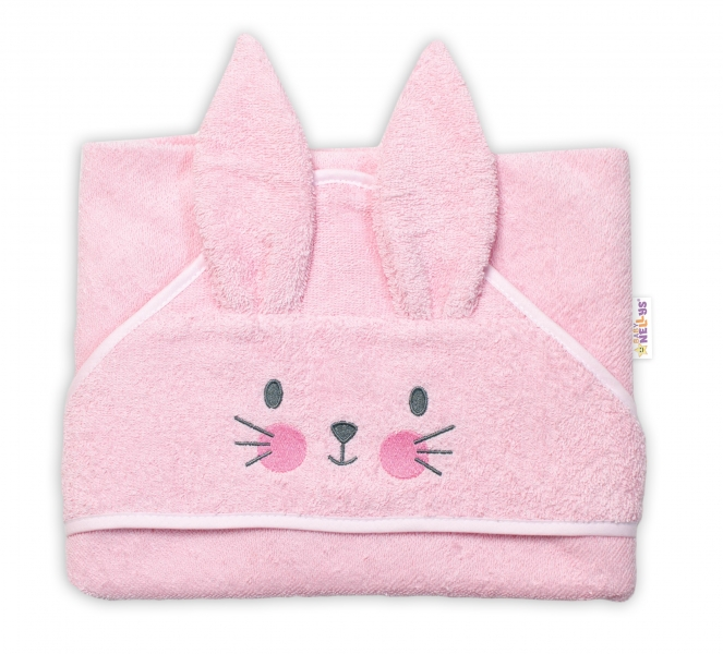 baby-nellys-frote-osuska-s-kapuci-80-x-80-cm-bunny-ruzova