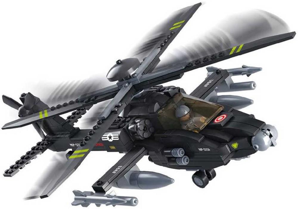 SLUBAN Stavebnice ARMY vrtulník AH-64 Apache set 239 dílků + 1 figurka plast