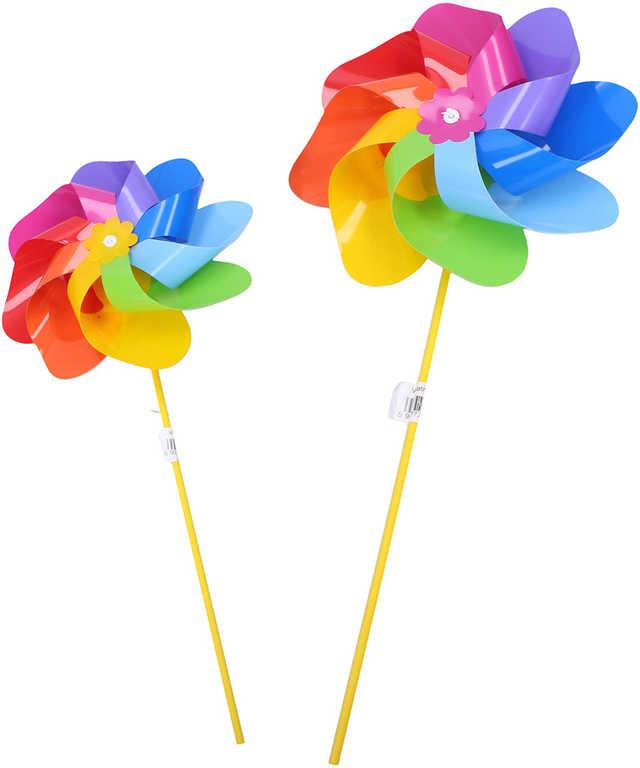 Větrník klasický růžice duhový plastová tyčka 2 barvy