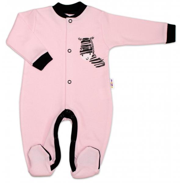 baby-nellys-bavlneny-overalek-zebra-ruzovy-vel-74-74-6-9m