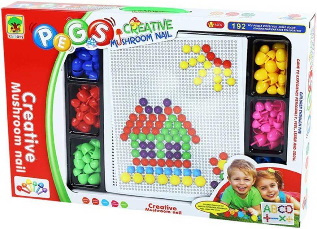 Mozaika hříbečková barevné kloboučky 2 velikosti kreativní set 192ks v krabici