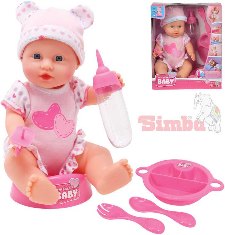 SIMBA New Born Baby panenka miminko holčička 30cm pije čůrá set s doplňky