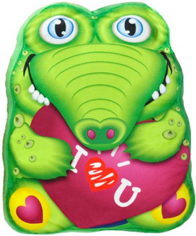 PLYŠ Polštářek krokodýl 35x30cm se srdíčkem *PLYŠOVÉ HRAČKY*