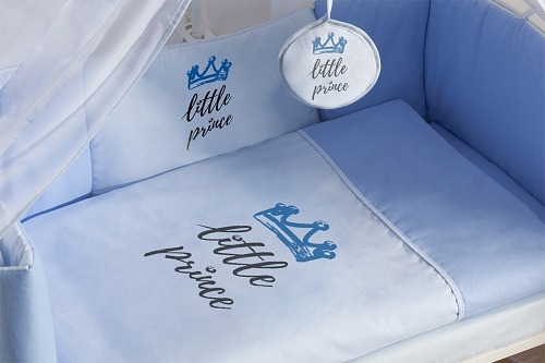Baby Nellys 9-dílná sada do kolébky Little Prince + zavinovačka - modrá