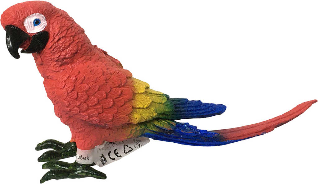 Papoušek Ara 16cm figurka ručně malovaná pryž