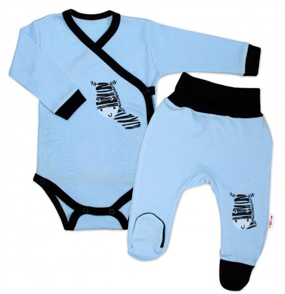 Baby Nellys 2-dílná sada body dl. rukáv + polodupačky, modrá