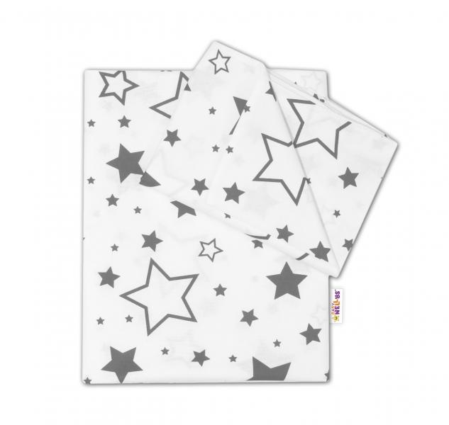 Baby Nellys 2-dílné bavlněné povlečení - Šedé hvězdy a hvězdičky