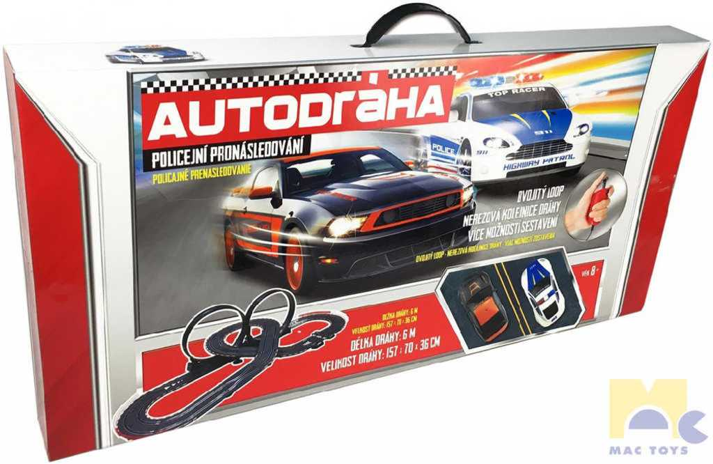 MAC TOYS Policejní honička set dráha 6m + 2 autíčka 2x looping v krabici