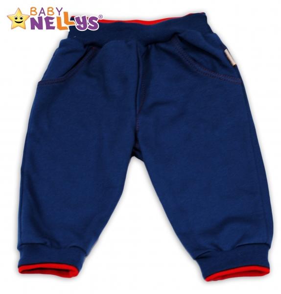 Tepláčky Baby Nellys® - modré/červený lem - 74 (6-9m)