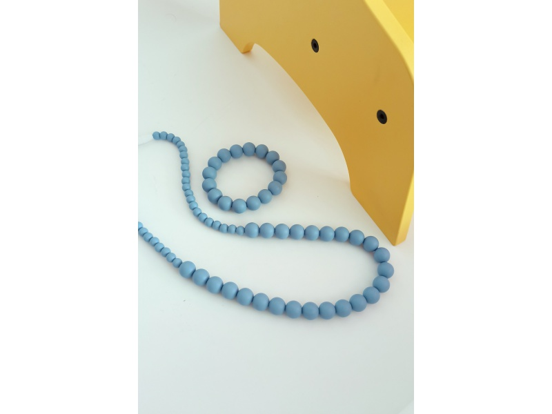 MIMIKOI - Kojící korále a náramek - set - světle modré