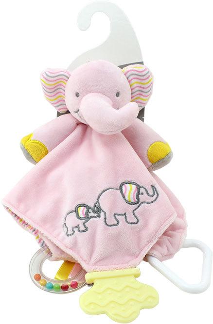 PLYŠ Baby dečka sloník 25x25cm muchláček s chrastítkem a kousátkem