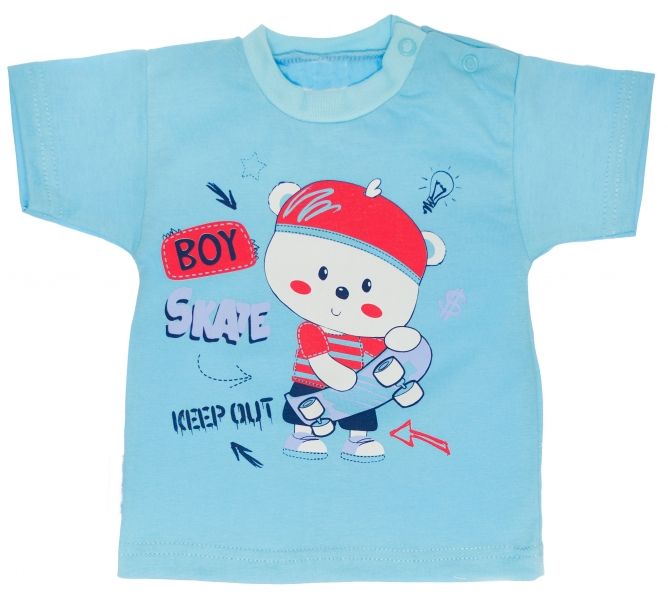 Bavlněné tričko vel. - Bavlněné tričko - Medvídek Skate - tyrkysové - 62 (2-3m)