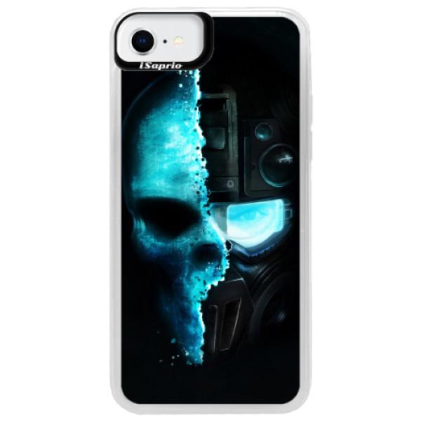 Neonové pouzdro Blue iSaprio - Roboskull - iPhone SE 2020