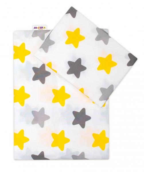 baby-nellys-2-dilne-bavlnene-povleceni-barevne-hvezdicky-zlute-sede-135x100-135x100