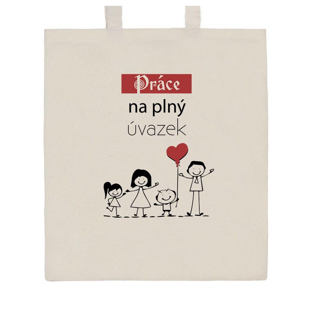 Bavlněná nákupní taška s potiskem New Baby Práce na plný úvazek - přírodní