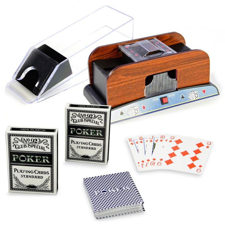 Pokerová sada - míchačka karet, podavač, karty