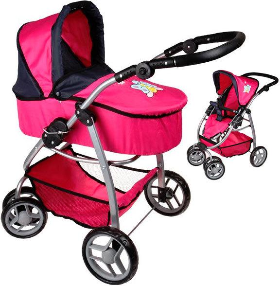 Kočárek Boncare pro panenku miminko hluboký růžovo-černý s motýlkem 4v1