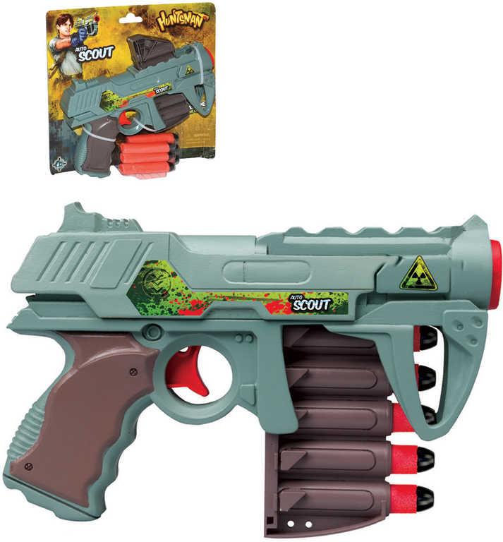Akční průzkumnická pistole Huntsman X6 21cm set s 6ti soft náboji