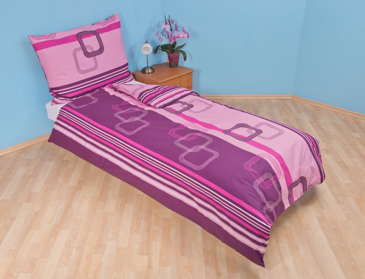 Povlečení bavlna 140x200, 70x90cm Čtverce fialové, Výběr zapínání: - zipový uzávěr