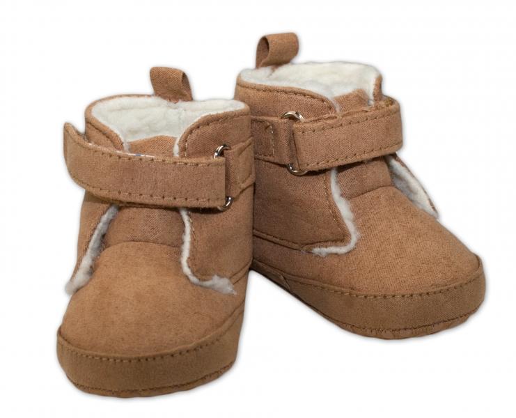 Zimní capačky/botičky YO! Hnědé  (0-6m)