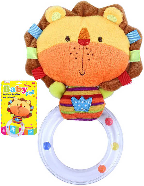 PLYŠ Baby chrastítko lvíček s kuličkami pro miminko *PLYŠOVÉ HRAČKY*